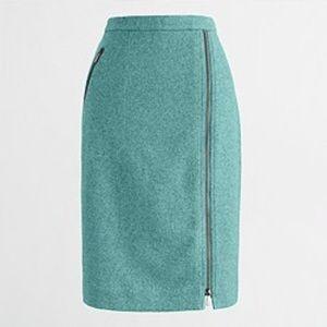 J.Crew Wool Teal Pencil Skirt Sz 2